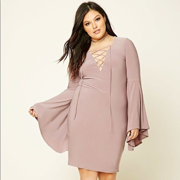 MAUVE FOREVER21 PLUS SIZE BELL SLEEVE DRESS 2X